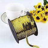 Exquisites, strahlendes flaches AsentechUK®-Pailletten-Band zum Nähen, Basteln, Verschönern - Zubehör zum Selbstnähen - 1Rolle: 6mm breit, PVC, gold, 90m
