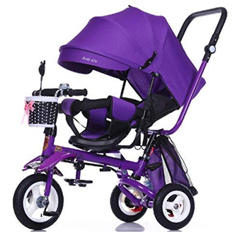 YLET 4-in-1 Baby Dreirad Klappkinderwagen Kinder Trike Abnehmbarer Baldachin Drückgriff Lernfahrrad,Purple-OneSize