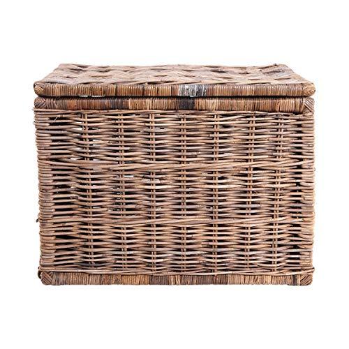 BUTLERS Le Havre Rattan Truhe - Box mit Deckel in Vintage Natur, Wäschetruhe oder Korb zur Aufbewahrung, 70x56 cm