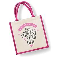9th Birthday Gift Bag Ninth Girl Nine Year Old Medium 30cm X 19cm Present Pink