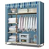LI JING SHOP - Armoire en tissu Armoire en métal pour rideau Ensemble Armoire Pole Stockage haute capacité W135 × D46 × H173cm ( Couleur : Stripes -2 )