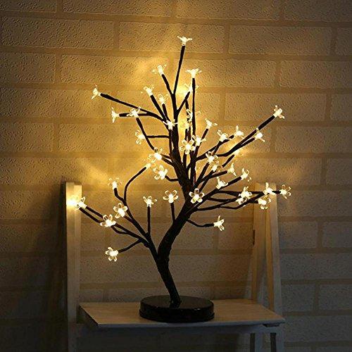 DOLDOA 48er LED Pflaume Blossom Schreibtisch Top Bonsai Baum Licht (48er LED – Höhe: 0,52 m / 20,47″, Gelb)