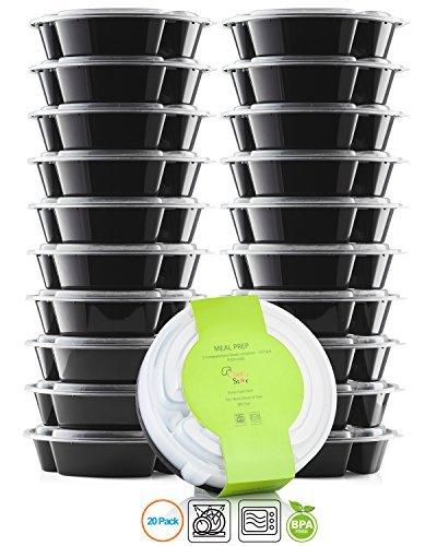 Chef's Star Lot de 10 contenants alimentaires réutilisables et empilables à 3 compartiment avec couvercles, sans BPA, allant au micro-ondes et au lave-vaisselle, 737 g