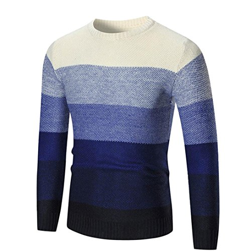 Elecenty Herren Strickwaren Herren Stricken Slim Winter Strickpullover Streifen Sweater Sweatshirt Blusen Männer Rundhals Pullover Bluse Hemd Pulli Outwear Langarmshirt Tops (M, Marine) (Schalkragen Pullover Long)
