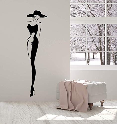 haninj Vinyl Wall Decal Top Fashion Model Hut Retro Lady Style Frau Aufkleber einzigartiges Geschenk 21x89cm