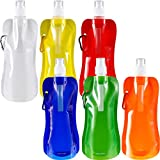 6 Pieces Collapsible Water Bottle Reusable Drinking Water Bottle with Clip for Biking