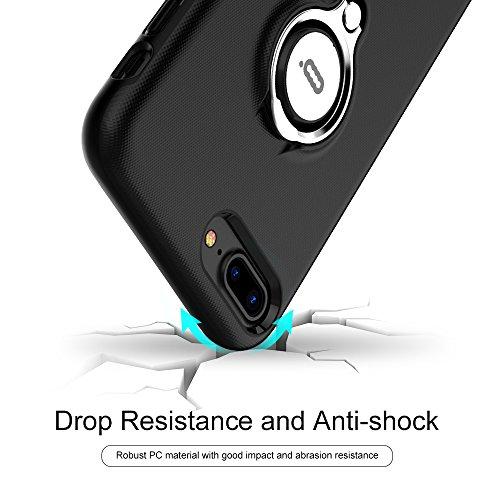 Custodia per iPhone 6s Plus con Anello da Kickstand da ICONFLANG, Custodia Girevole a 360 Gradi per iPhone 6s Plus Doppio Strato Protezione Antiurto per Apple iPhone 6s Plus/6 Plus (iPhone 6s Plus, Ro Black