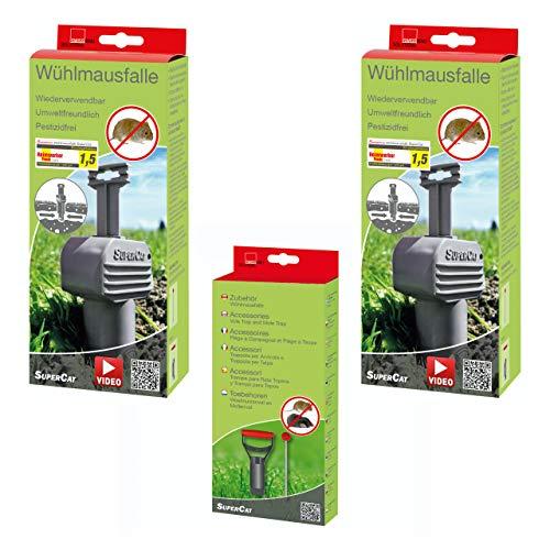 SWISSINNO Spar-Set 2 x Wühlmausfalle SuperCat plus Zubehörset Lochfinder und Lochstanze, Wühlmausabwehr-Set