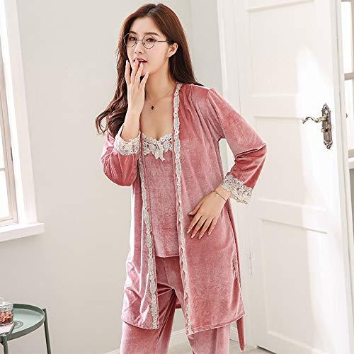 HAOLIEQUAN Winter Weibliche Langhülse 3 Stück Set Familie Kleidung Samt Pyjama Set Für Frauen Casual Pijama Mädchen PyjamaWinter Kleidung, 9989Dousha, XXL