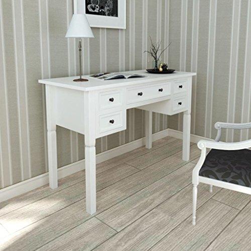 vidaXL Escritorio Mesa de Oficina Blanco Con 5 Cajones Elegante Mobiliario