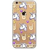Phone Kandy® Emoji Claro TPU Transparente Funda de silicona ultra fina y protector de la pantalla carcasa funda (iPhone 7 (4.7 pulgada), unicornio)