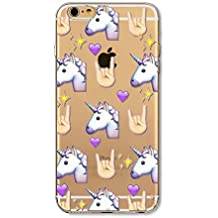 Phone Kandy® Emoji Claro TPU Transparente Funda de silicona ultra fina y protector de la pantalla carcasa funda (iPhone 5 5s SE, unicornio)