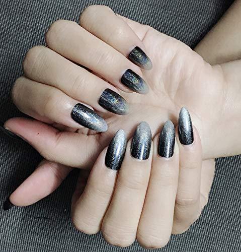 Stiletto falsche Nägel Regenbogen-Chromnägel Reflektierende Spiegelnägel Glitter dunkel Gradient to Glänzendes Silber Design Künstliche Nagelkunst 24PCS