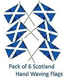 Petits drapeauxà main écossais –Bleu clair– Lot de six drapeaux écossais avec la croix de Saint André – Drapeau écossais de l'indépendance SNP–de qualité supérieure, drapeaux à main à agiter 23 x 15,2cm–sur une tige en bois de 30cm
