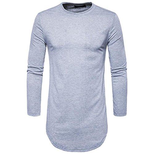 Herren Herbst Winter T-Shirt Bluse Einfachheit Modisch Solide Farbe moderne hemden wärmen Lange Ärmel outdoor hemd Shirt Perfekt günstige hemden Tops (S, grau) (Eine Kragen Einfachheit)