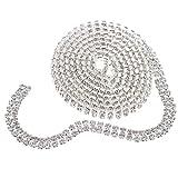 Baoblaze 1 Yard Strasssteine Glitzerband Strassband Strass Borte Diamant Band Dekoband für Schmuck Zum Basteln - Silber