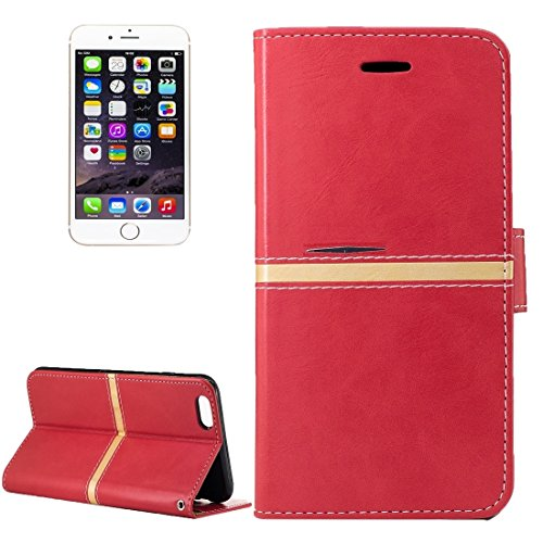 YAN Für iPhone 6 Plus / 6s Plus, Crazy Pferd Textur PU Leder Horizontale Flip Leder Tasche mit Halter & Card Slots & Wallet & Photo Frame & Lanyard ( Color : Rose gold ) Red