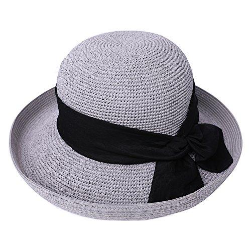 Klappbarer Strohhut Sonnenhut Damen Strandhut mit Kinnriemen Grau SIGGI