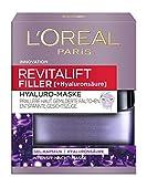L'Oréal Paris Revitalift Filler Hyaluro-Maske, aufpolsternde Gel-Kapseln mit hochkonzentrierter Hyaluronsäure, mildert Fältchen, sorgt für eine prallere Haut und entspannte Gesichtszüge, 50 ml