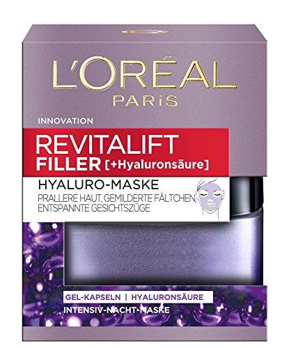 L'Oréal Paris Revitalift Filler Hyaluro-Maske, aufpolsternde Gel-Kapseln mit hochkonzentrierter Hyaluronsäure, mildert Fältchen, sorgt für eine prallere Haut und entspannte Gesichtszüge, 50 ml - Intensive Aufpolsterung