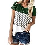 MRULIC Frauen Kurzarm Dreifach Farbe Block Streifen T-Shirt Casual Bluse Damen Shirt Weisse Bluse (EU-38/CN-M, Grün)