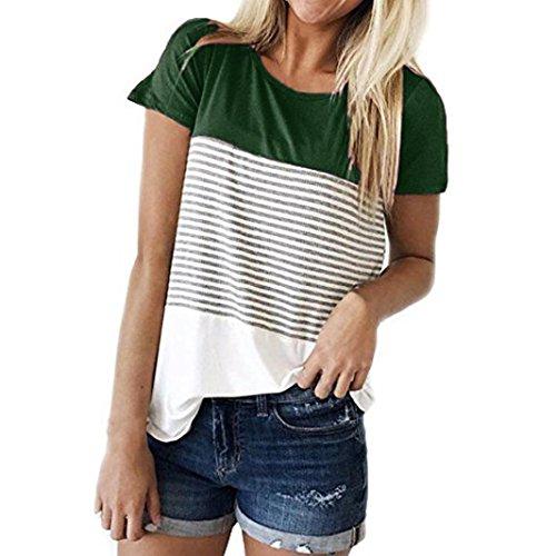 MRULIC Frauen Kurzarm Dreifach Farbe Block Streifen T-Shirt Casual Bluse Damen Shirt Weisse Bluse (EU-36/CN-S, Grün)