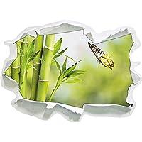 Bambù con farfalla, carta 3D autoadesivo della parete formato: 62x45 cm decorazione della parete 3D Wall Stickers parete decalcomanie
