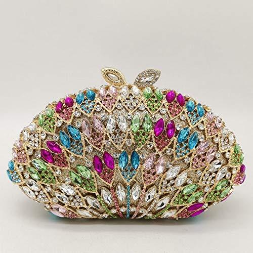 XLJJB Aushöhlen Frauen Gold Kristall Abend Clutch Bag Hochzeit Formale Abendessen Geldbörsen Und Handtaschen Bridal Diamond BagMulti Crystal Bag
