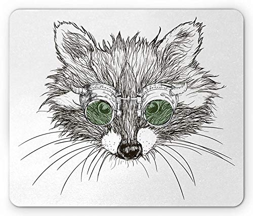 Raccoon Mouse Pad, Hipster Animal Portrait Sketch Steampunk Style Glasses Humor Caricature, Standard Size Rectangle Non-Slip Rubber Mousepad, Fern Green Black White