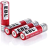EBL 4 Unidades 18650 Batería Litio Recargable 3000mAh 3.7V de Baja Autodescarga para Electrónica Digital, Juguetes de Niños, Linterna, Alarma de Seguridad.