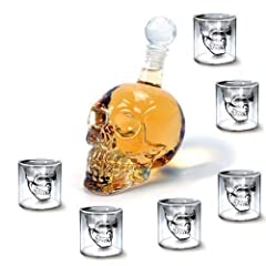 Idea Regalo - Amzdeal Set di 1 Bottiglia(350ML)+ 6 Bicchieri (75ML) a Forma Skull Head / Teschio in Vetro per Liquori, Birra, Vino o Bevande Analcoliche