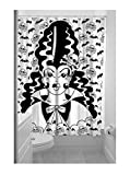 Sourpuss FRANKENGAL Skull Bats Shower Curtain DUSCHVORHANG Rockabilly
