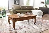 Wohnling Couchtisch Opium Massiv-Holz Sheesham 110 cm breit Wohnzimmer-Tisch Design dunkel-braun Landhaus-Stil Beistelltisch Natur-Produkt Wohnzimmermöbel modern Massivholzmöbel Echtholz rechteckig - 2