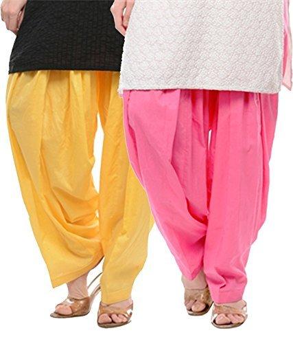 Pistaa Women's Premium Cotton Readymade Salwar (Lemon Yellow :: Pastel Pink)