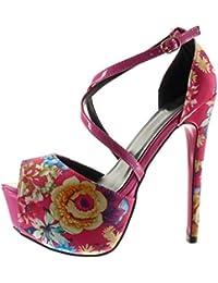 Angkorly - Chaussure Mode Escarpin Sandale stiletto plateforme sexy femme fleurs lanière Talon haut aiguille 15 CM