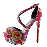 Angkorly - Damen Schuhe Pumpe Sandalen - Stiletto - Plateauschuhe - Sexy - Blumen - String Tanga Stiletto high Heel 15 cm - Fushia 988-20 T 38