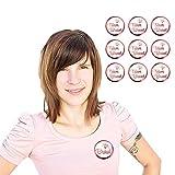 Oblique Unique® 1 x Braut & 9 x Team Braut Button Set für JGA Junggesellinnenabschied Hochzeit Anstecker in Roségold - Top Qualität