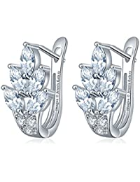 Jewels Galaxy Crystal Elements Glamorous Sparkling AAA Swiss Cubic Zirconia Leaf Designer Platinum Plated Splendid Earrings For Wedding/Party