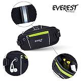 EVEREST FITNESS Sport-Gürteltasche mit Smartphone- und Geldfach in Schwarz, inklusive Reflektor-Streifen für erhöhte Sichtbarkeit in der Dunkelheit | mit 2 Jahren Zufriedenheitsgarantie | Mehrzweck-Gürtel, Handytaschre, Hüfttasche, Bauchtasche -