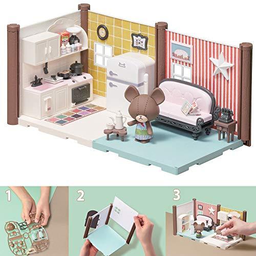 Bandai- Haco Room- Set für Küche & Wohnzimmer- 99 Teile zum Zusammenbauen- Puppe Jackie, doppeltes Zimmer und zahlreiche Accessoires- Mini-Spielwelt- Bauspielset- 35456