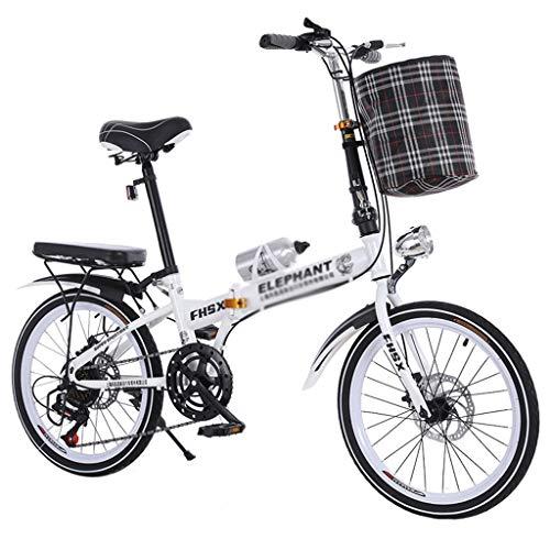 Pocket bikes sportives Vélo Pliant Freins à Disque DE 20 Pouces d'absorption des Chocs Unisexe Ultra-léger Portable Pliant vélo (Color : Blanc, Size : 150 * 35 * 110cm)