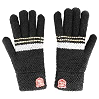 A-QMZL Kids Gloves Childrens Winter Gloves Warm Cosy Winter Thermal Knitted Gloves for Boy Girls.Aged 6-12 (Black)