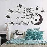 Pegatinas De Pared We Love You To The Moon Y Back Quotes Para Niños Dormitorio Decoración Vinilo Arte Familia Calcomanías