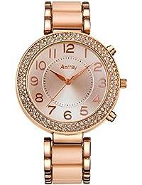 Abrray Analog Quarz Strass Schutzhülle Halskette Armband Armbanduhr für Frauen mit arabischem Zahlenanzeige