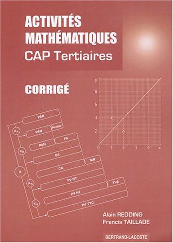 Activités mathémathiques CAP tertiaires (services restauration) : Corrigé