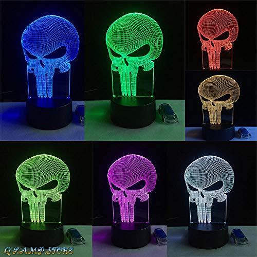 Zcmzcm 3D Nachtlichter Neue Zahn Schädel 3D Led Usb Lampe Halloween Punisher Stimmung Bunte Angst Thema Spukhaus Dekor Nachtlicht Bühnenbeleuchtung (Heißes Thema Halloween)