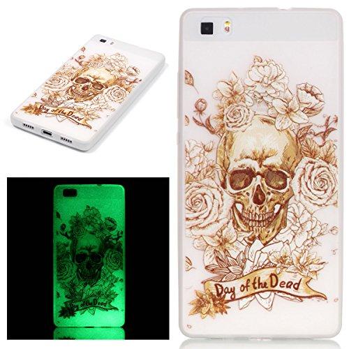 ISAKEN Custodia Huawei P8 Lite - Fashion Agganciabile Luminosa Cover Case con LED Lampeggiante per (Patterns Bone)