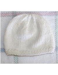 Bonnet De Naissance Pour Bébé En Laine Deluxe   Fait Main - Blanc    Naissance 720a04d2e16