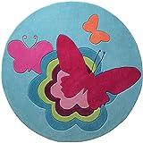 ESPRIT Butterflies Moderner Markenteppich, Acryl, Türkis, 100 x 100 x 1 cm
