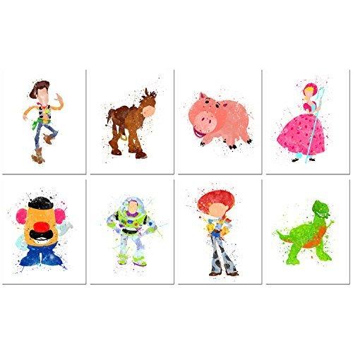 BigWig Prints Toy Story Watercolor Prints-Set von Acht 8x 10Fotos-Kinder Wand Art Decor (Bullseye Woody Jessie Buzz)